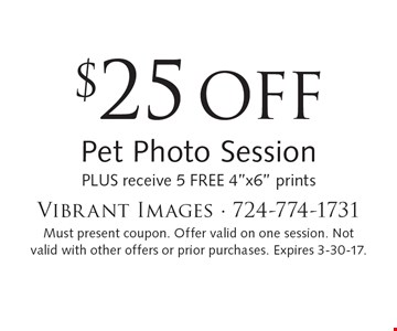 $25 OFF Pet Photo Session plus receive 5 free 4