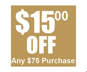 $15 off any $75 purchase. Valid Only At The Shoppes At Beville Rd. One time use only. Not valid with any other offer or in conjunction with Everyday Low Priced Items. One coupon per person. Coupon must be presented at time of purchase. Valid through 3-3-17.