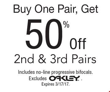 Buy One Pair, Get 50% Off 2nd & 3rd Pairs. Includes no-line progressive bifocals. Excludes Oakley. Expires 3/17/17.