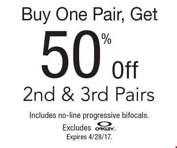 Buy one pair, get 50% off 2nd & 3rd pairs. includes no-line progressive bifocals. Excludes Oakley. Expires 4/28/17.