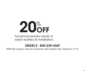 20% off full-service jewelry repair or watch battery & installation. With this coupon. One per customer. New repairs only. Expires 3-17-17.
