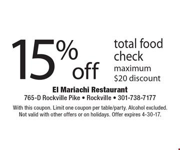 15% off total food check. Maximum $20 discount. With this coupon. Limit one coupon per table/party. Alcohol excluded. Not valid with other offers or on holidays. Offer expires 4-30-17.