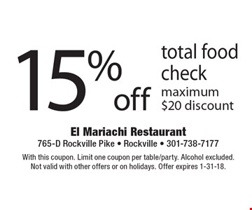 15% off total food check maximum $20 discount. With this coupon. Limit one coupon per table/party. Alcohol excluded.Not valid with other offers or on holidays. Offer expires 1-31-18.