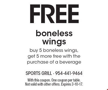 FREE boneless wings. Buy 5 boneless wings, get 5 more free with the purchase of a beverage. With this coupon. One coupon per table. Not valid with other offers. Expires 3-10-17.