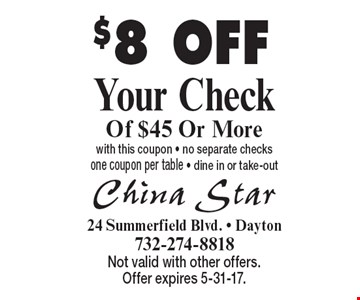 $8 OFF Your Check Of $45 Or More with this coupon - no separate checks one coupon per table - dine in or take-out. Not valid with other offers. Offer expires 5-31-17.