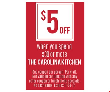 $5 off when you spend $30 or more