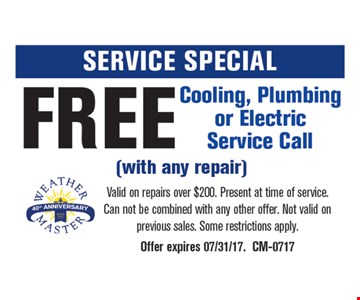 Free Cooling, Plumbing or Electric Service Call with Any Repair