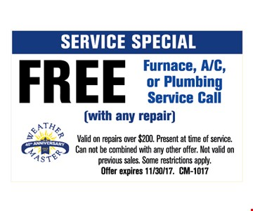 Free furnace, A/C, or plumbing Service call with any repair