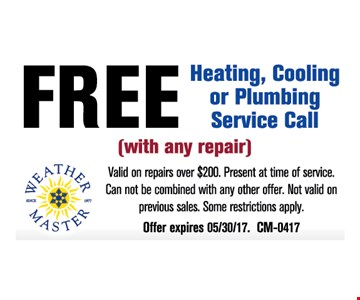 Free Heating, Cooling or Plumbing Service