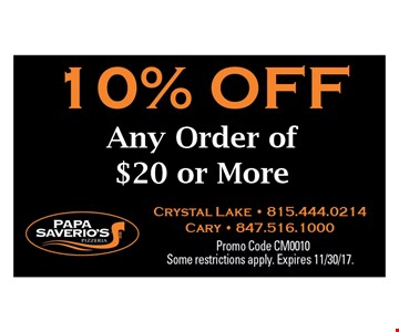 10% Off Any order of $20 or more.