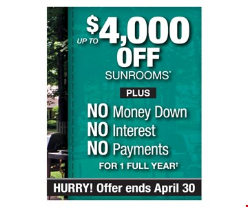 $4,000 Off Sunrooms
