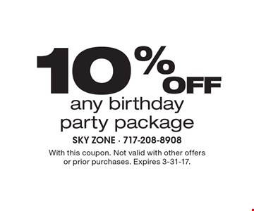 10% off any birthday party package. With this coupon. Not valid with other offers or prior purchases. Expires 3-31-17.