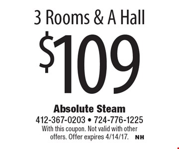 $1093 rooms & a hall. With this coupon. Not valid with other offers. Offer expires 4/14/17.