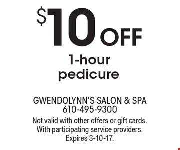 $10OFF 1-hour pedicure. Not valid with other offers or gift cards. With participating service providers. Expires 3-10-17.
