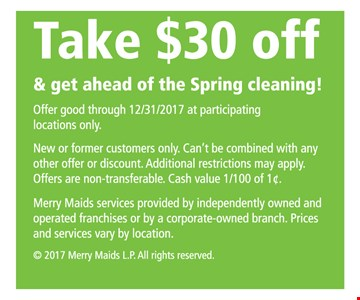 Take $30 Off and get ahead of the Spring Cleaning!