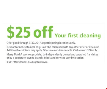 $25 off your first cleaning