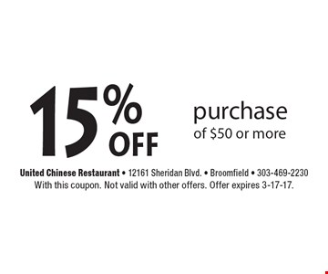 15% off purchase of $50 or more. With this coupon. Not valid with other offers. Offer expires 3-17-17.