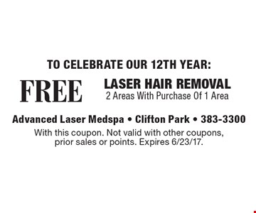 FREE LASER HAIR REMOVAL. 2 Areas With Purchase Of 1 Area. With this coupon. Not valid with other coupons, prior sales or points. Expires 6/23/17.