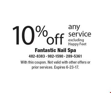 10% off any service excluding Happy Feet. With this coupon. Not valid with other offers or prior services. Expires 6-23-17.
