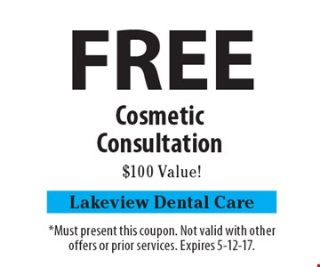 FREE Cosmetic Consultation. $100 Value! *Must present this coupon. Not valid with other offers or prior services. Expires 5-12-17.