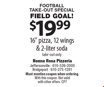 Football Take-Out Special Field Goal! $19.99 16