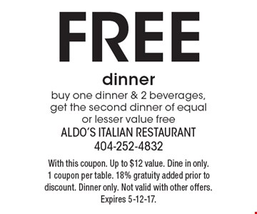 Free dinner. Buy one dinner & 2 beverages, get the second dinner of equal or lesser value free. With this coupon. Up to $12 value. Dine in only. 1 coupon per table. 18% gratuity added prior to discount. Dinner only. Not valid with other offers. Expires 5-12-17.