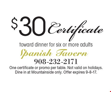 $30 Certificate toward dinner for six or more adults. One certificate or promo per table. Not valid on holidays. Dine in at Mountainside only. Offer expires 9-8-17.