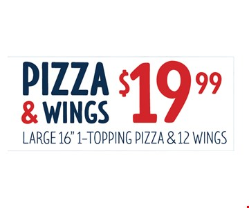 Pizza and wings $19.99
