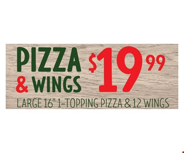 Pizza & Wings $19.99. Large 16