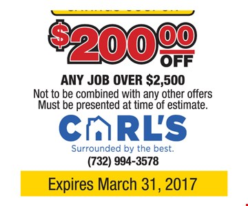 $200 off any job over $2500