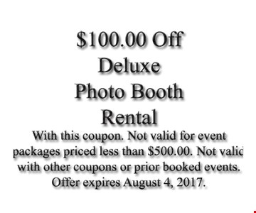 $100 Off Deluxe Photo Booth Rental