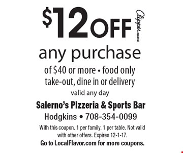 $12 OFF any purchase of $40 or more. Food only. Take-out, dine in or delivery. Valid any day. With this coupon. 1 per family. 1 per table. Not valid with other offers. Expires 12-1-17. Go to LocalFlavor.com for more coupons.