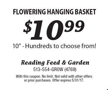 $10.99 Flowering Hanging Basket 10