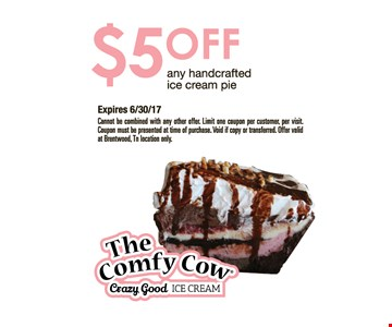 $5 off any handcrafted ice cream pie.