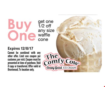 Buy one get one 1/2 off, any size waffle cone