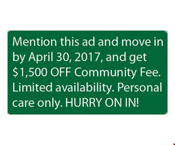 $1500 off community fee