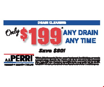 $199 any drain any time