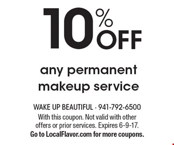 10% off any permanent makeup service. With this coupon. Not valid with other offers or prior services. Expires 6-9-17. Go to LocalFlavor.com for more coupons.
