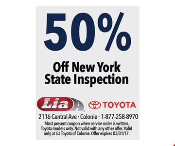 50% Off New York State Inspection.