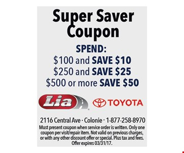 Super Saver Coupon. Spend: $100 And Save $10, $250 And Save $25, $500 Or More Save $50.