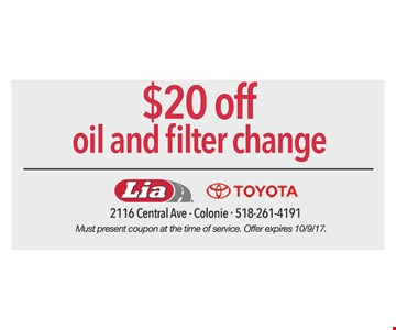 $20 Off Oil And Filter Change