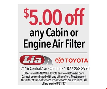 $5.00 off any cabin or engine air filter