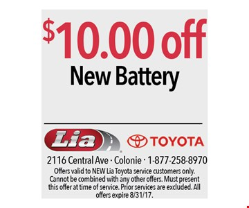 $10.00 off new battery