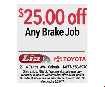 $25.00 off any brake job