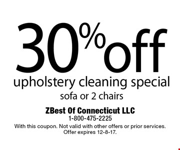 30% off upholstery cleaning special sofa or 2 chairs. With this coupon. Not valid with other offers or prior services. Offer expires 12-8-17.