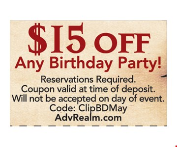 $15 off any birthday party