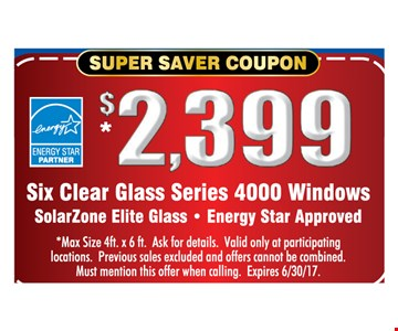 $2399 Six clear glass series 4000 windows