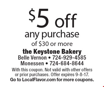 $5 off any purchase of $30 or more. With this coupon. Not valid with other offers or prior purchases. Offer expires 9-8-17. Go to LocalFlavor.com for more coupons.