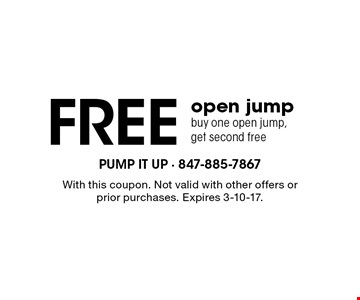 Free open jump. Buy one open jump, get second free. With this coupon. Not valid with other offers or prior purchases. Expires 3-10-17.