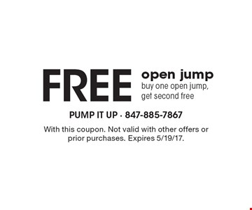 Free open jump, buy one open jump, get second free. With this coupon. Not valid with other offers or prior purchases. Expires 5/19/17.